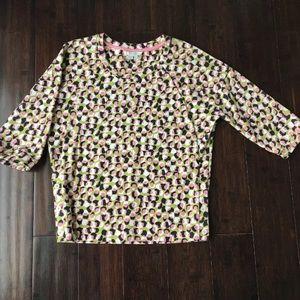 Boden 2 Pink Green Top Shirt Side Button Detail